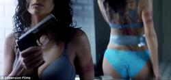 "Salma Hayek - Strips Down & Stuffs A Gun Into Bra In Trailer For ""Everyly"""